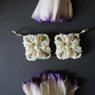 Кружевные серьги с жемчугом , Маленькие серьги подвески , Свадебные серьги