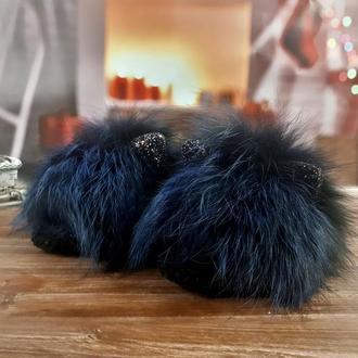 Меховые домашние теплые тапочки-ушастики