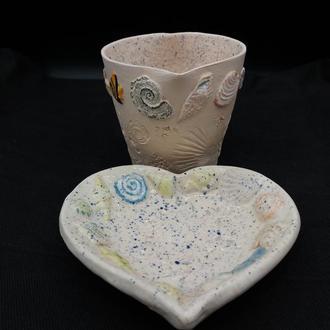 набор в ванную комату из керамики. Мыльница + стакан для счеток.