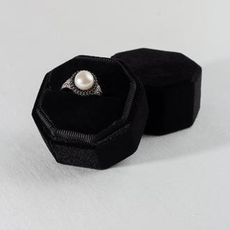 Бархатная коробочка для кольца (цвет Deep Black)