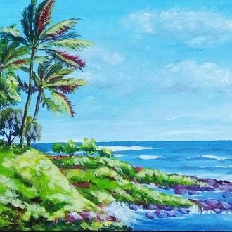 """Картина """"На Гавайских островах"""", голубой, зеленый"""