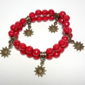 Браслет Коралловый двойной, натуральный камень, цвет красный, бронза \ Sb - 0001