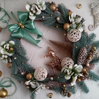 """Різдвяний віночок з оленем """"Лісова казка"""""""