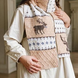 Вязаный шарф с оленями « Эмиль»