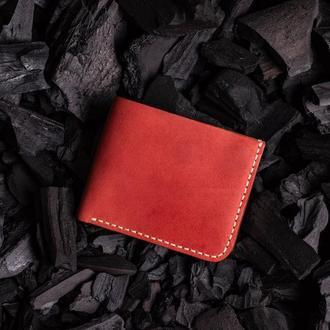 Мужской кошелек  из натуральной кожи от мастерской Hidemont в красном цвете
