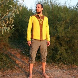 льняная мужская рубашка с обережным символом Велес