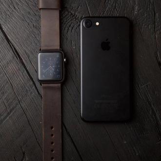 Кожаный ремешок для Apple Watch 38/40 и 42/44 мм темно коричневый