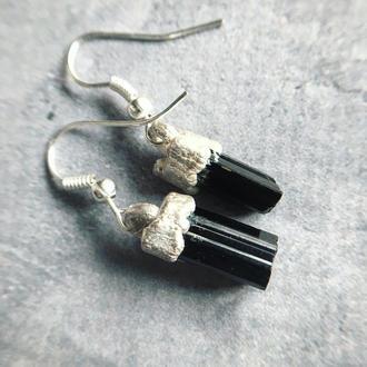 Серьги из чёрного турмалина в серебре