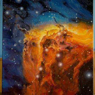 Картина Туманность Пеликан IC 5070. Космос. Вселенная.