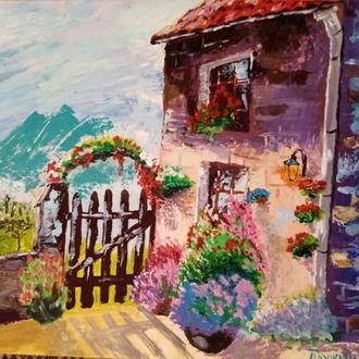 Картина Уютный дворик. Дом в горах