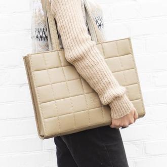 Сумка для ноутбука. Большая сумка на плечо. Бежевая сумка для документов. Офисная сумка из экокожи