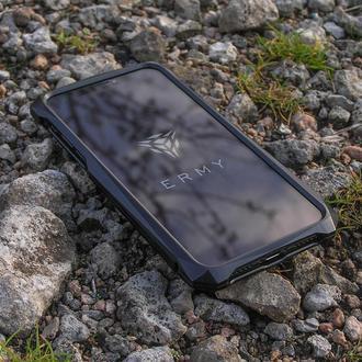 Мужской эксклюзивный чехол для iPhone Xs X Черный • Ручная работа •  Подарок мужчине парню мужу