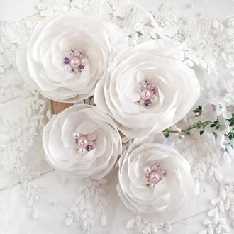 Резинки и заколки для волос, подарок девочке, резинки и заколки с цветами, цветочные заколки