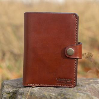 Большой кошелек / Портмоне из плотной кожи коньячного цвета