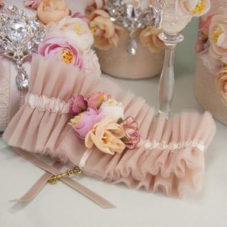 Подвязка невесты Brilliant set персикового оттенка