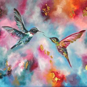 """Картина маслом """"Колібрі"""" 60х80 см птиці авторський живопис"""