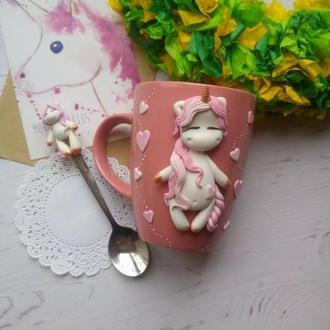Набор чашка с декором единорог+ложка