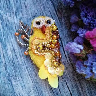 Брошь сова птичка птица желтая