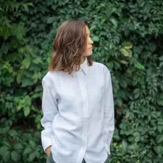 Льняная рубашка,рубашка оверсайз,рубашка из льна,белая рубашка,классическая рубашка,сорочка з льону