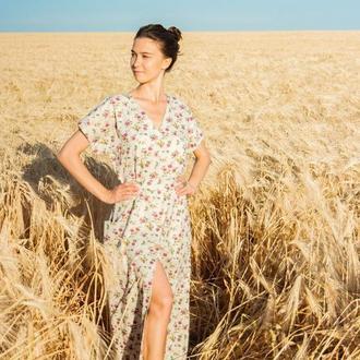 Платье из льна в цветочный принт, лляна сукня у квітковий принт, довга сукня з льону