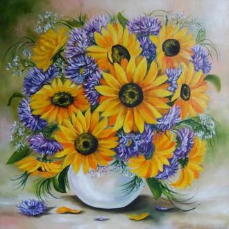 Картина маслом с цветами Подсолнухи