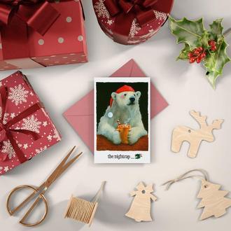 """Новогодняя открытка """"Мишка с какао"""""""