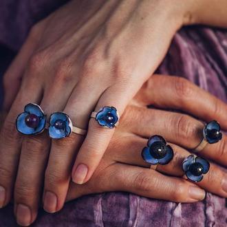 кольца. forget-me-not. серебро , медь , эмаль