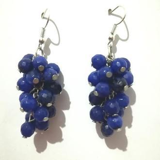 Серьги грозди из Чешского Хрусталя, цвет синий \ S - 0239