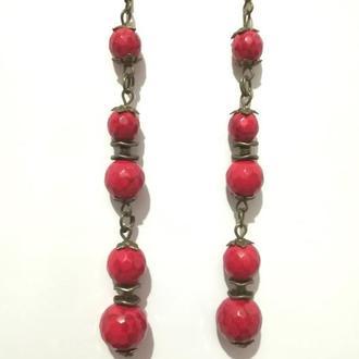 Серьги с Кораллом длинные, натуральный камень, бронза, цвет красный \ S - 0257