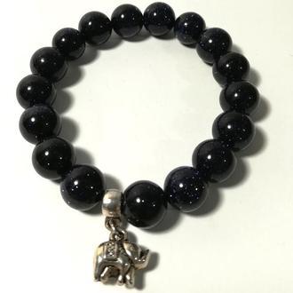 Браслет Авантюрин Ночь Каира, натуральный камень, цвет темно-синий \ Sb - 0006