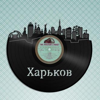 Настенный декор город Харькова из виниловой пластинки