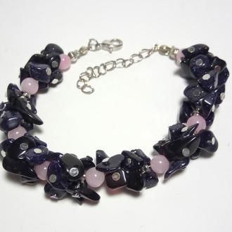 Браслет Авантюрин крошка, Розовый кварц, натуральный камень \ Sb - 0008