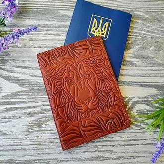 Обкладинка на паспорт коричневий лев