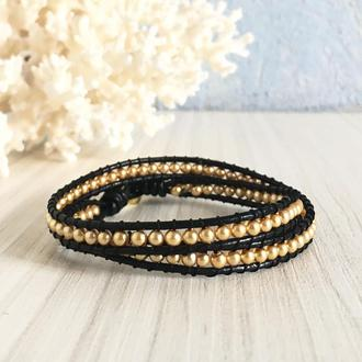 Черный кожаный браслет в стиле Chan Luu с искусственным жемчугом золотистого цвета