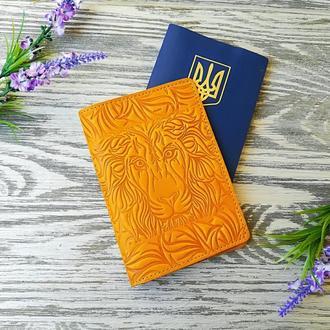 Обкладинка на паспорт жовтий лев