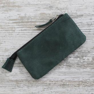 Ключница на молнии из натуральной кожи зеленая keys-zip