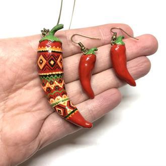 Подвеска и серьги Мексиканский перец