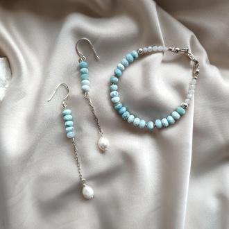 Комплект браслет и сережки из ларимара и жемчуга, серебро