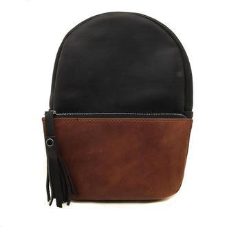 Рюкзак из натуральной кожи черно коньячный egg