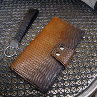 Чоловічий гаманець з натуральної ящірки (ключниця в подарунок)