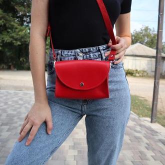 Стильная сумка боковушка женская красная