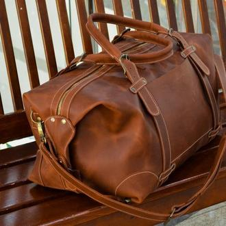 Дорожная кожаная сумка, Спортивная коричневая сумка