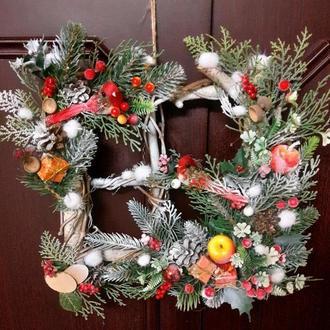 Новогодний рождественский венок на дверь панно декор новогодний рождественский венок