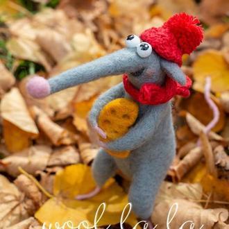 """"""" Крыс Сёма """"  , Игрушка из Шерсти , Подарок , Интерьерные игрушки , Ручная Работа"""