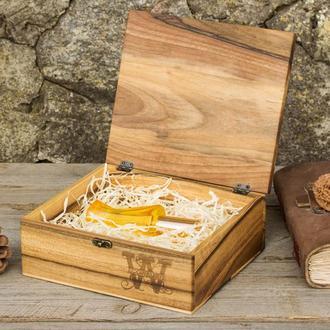 Деревянная Шкатулка Для Хранения Денег Косметики Бижутерии Личных Вещей Подарочная Коробочка Девушке