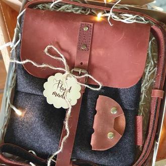 Подарочные наборы Сумка из шерсти и натуральной кожи +холдер для наушников или брелок на выбор