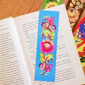 закладка для книг Петриковская роспись на голубом фоне