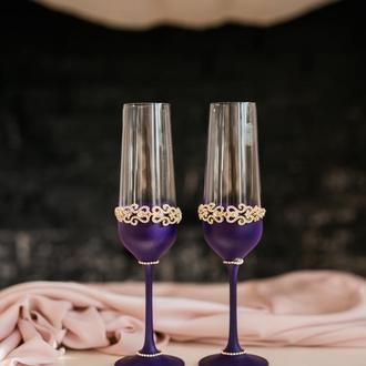 Свадебные бокалы фиолетового цвета Восточные сказки