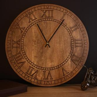 Часы лофт. Большие часы. Деревянные часы.