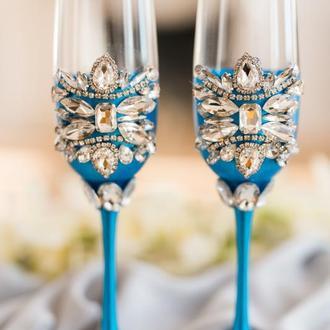 Фужеры на свадьбу Богатый синий